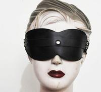 Black color Adjustable Fetish leather eyepatch mask blind pack sex toys for woman and man