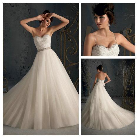 The Latest FashionRemovable Spaghetti Straps Ball Gown Princess Wedding Bridal Dresses New Fashion 2013 Diamond(China (Mainland))