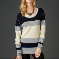 Women Knitwear Strip Knited Jumper Casual Sweater Pullover HY-40826