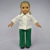 """Free shipping!! Doll Clothes fit for 18"""" American Girl Dolls, White Shirt & Trousers, 2pcs, girl birthday present,  gift, A13"""