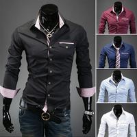 T1008 2014 FREE SHIPPING Casual Men Shirts Korean men's long-sleeved hit color shirt Slim Fit dress shirt Men 5 colors M-XXXL