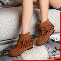 MEMOO Women Fashion Boots Round Toe  Flat heel Waterproof platform Tassel chocolate   Size34-43 maroon  Winter Shoes A1696