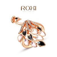18k Rose Gold Peacock Rings For Women 2014 New Fashion Roxi Sterling Silver Jewelry Imitation Diamond RIng Accessories