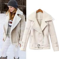 2014 New Winter ZA Women's Large Fuax Fur Lapel Long Sleeve  Faux Suede Leather Motorcycle Jacket Short Warm Coat Outerwears