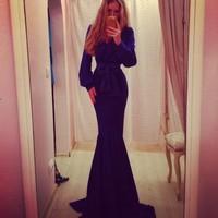 New Autumn vestido 2014 Elegant V Neck Celebrity Long Puff Sleeve Maxi Dress Sexy Mermaid Women Bodycon Evening Prom Party Gown