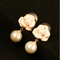 YTEH179 Vintage Fashion White Camellias With Pearl Pendant Drop Dangle Earrings Jewelry For Women Party Wedding Real Gold Plated