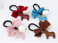 Korean imitation pearl leather pony hair fabric bow knot lotus ring rubber band,12pcs/lot