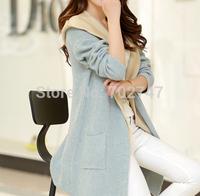 Hitz Korean casual two-piece knit hooded cardigan sweater vest jacket woman