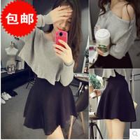 L359B Woman knitted skirt twinset grey long sleeve autumn women's skirt set casual pullovers + skirt suit European