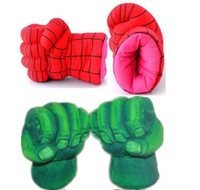 13'' Incredible The Avengers Alliance Hulk gloves Smash Hands +New Cosplay Spider Man Soft Plush Glove ( 1 pair = 2pcs )