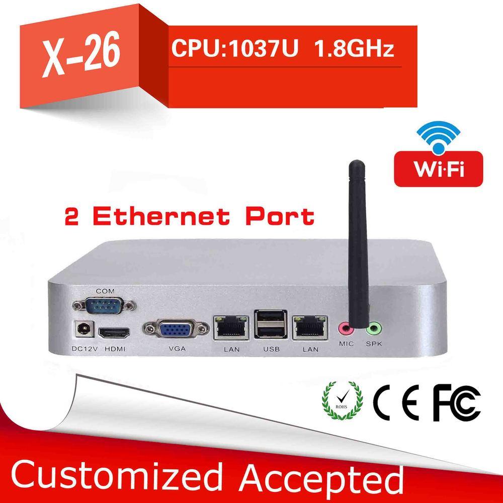 Barebone pc intel celeron C1037U 2 lan Fan Industrial Mini PC hdmi Mini computer can run Linux/Ubuntu/window 7 thin client(China (Mainland))