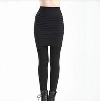 2014 Winter New Fashion Pleated Pants Plus Velvet Leggings Trend Wild Slim Waist Leggings Repair