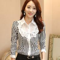 Blusas Femininas 2014 Women Blouses Ladies Casual Long Sleeve Chiffon Shirt Lace Stripes Printed Plus Size S-XXXL Office Blouse
