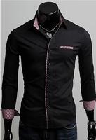 T1011 Free shipping 2014 Men Dress Shirt Hot Fashion Men's casual long sleeve Slim Fit shirts Korean Mens camisa 5 colors M-XXL