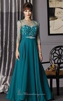 Sheer Top Turquoise Long Chiffon Evening Dress Vestidos de Noite Custom Made XS S M L XL 2XL 3XL 4XL