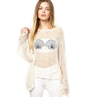 Sweaters Wildfox beautiful embroidered sequins shells dovetail design knitted sweater jumper Puff