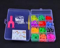 5 set\lot DIY Charm Bracelets loom storage box loom bands kit 400pcs 12colors\set rubber bands loom band set for children