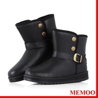 MEMOO Women Snow Boots Buckle Round Toe Flat Heel Waterproof platform  Size 7-12 Soft leather Rubber Black Winter A1636