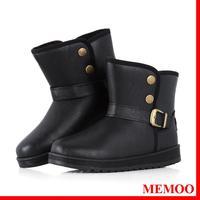MEMOO Women Snow Boots Buckle Round Toe Flat Heel Waterproof platform  Size 7-12 Soft leather Rubber Black Winter A1636