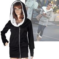 2014 Winter Thickening Winter Women Clothing Fashion Korea Women Hoodies Coat Warm Zip Up Outerwear Sweashirts Black Gray