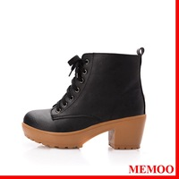 MEMOO 2014 Women  Boots Leather Oxford Heels   Boots Round Toe Platforms Med  A0681