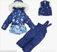 Russia Children winter clothing set Baby girl Ski suit sport sets baby girl cold winter clothing set winter thickening 3pcs set