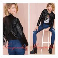 New 2014 High quality PU leather brand autumn zipper tassel coats womens Punk rock slim short jackets