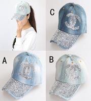 New Retail Diamond Point X letter denim caps women baseball cap rhinestone Unisex Summer sun hat