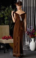Brown Off the Shoulder Ruched Long Chiffon Evening Dress Vestidos de Noite Custom Made XS S M L XL 2XL 3XL 4XL