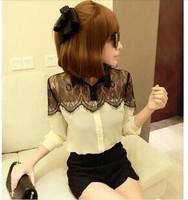 Women Blouse Blusas Femininas 2014 Fashion Ladies Casual Long Sleeve Black Lace White Chiffon Shirt Top Blouses Plus Size S-XXXL