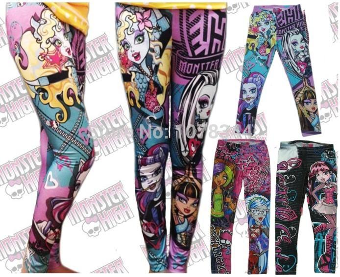 Hot! Baby Girls Cartoon Monster.high Monster hight Printing Pencil Pants Legging Clothes Leggings Kids Clothes Capris(China (Mainland))