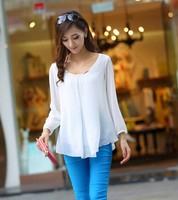 2014 Korean version Slim big yards refreshing quality chiffon shirt long sleeve female long-sleeved shirt FREE SHIPPING