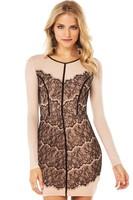Eyelash Lace Applique Nude Illusion Dress LC21687