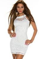 White Sexy Sleeveless Lace Dress LC21704