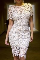 roupas femininas short sleeve wedding dresses Autumn 2014 Cream White Hollow-out Lace Midi Bodycon Spring Dress vestido de renda