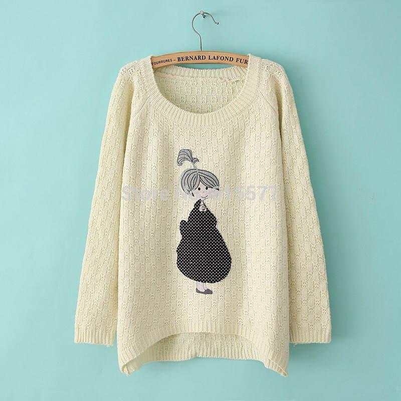 Korean Style 2014 Autumn Beauty Girls Print Women Sweaters Loose Irregular Knitted Pullovers(China (Mainland))