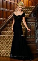 Black Ruched Mermaid Long Chiffon Evening Dress Vestidos de Noite Custom Made XS S M L XL 2XL 3XL 4XL