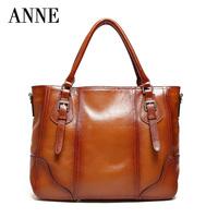Female header layer cowhide leather bag commuter Ms. portable shoulder Messenger bag simple