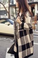 New 2014 Autumn Fashion Lattice Stripe Loose Long Cardigan Coat LC27540 Blouse Jacket women's sweater coats casacos femininos