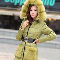 New Fashion Fur Women Winter Coat Long White Duck Down Jacket Thicken Slim Winter Women Long Down Coat Warm Hooded Winter Coat