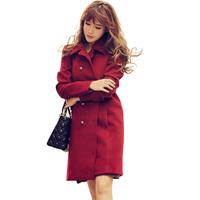 Temperament Autumn Turn-down Collar Straight Casacos Femininos Winter Long Sleeve Double Breasted Women's Coats 2014