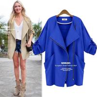 European Style Long Sleeve Casual Women's Coats 2014 Fashion Turn-down Collar Zipper Winter Trench Coat 838