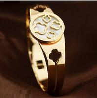 316 Titanium Steel brand natual shell rose gold plated clover european charm bracelet & bangle for women BR415