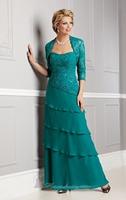 Peacock Color Tiered Lace Embellishment Bolero Long Chiffon Evening Dress Vestidos de Noite Custom Made XS S M L XL 2XL 3XL 4XL