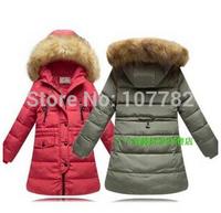Retail 1PCS New 2014 Winter Children Outerwear Girl's Kids Thick Warm Down Jackets & Coats With Fur Hood ZZ2639