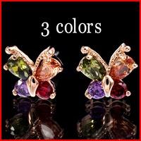 3 Colors Allergy Free Fashion AAA Swiss CZ Butterfly Earrings For Women CZ Lucky Clover Earrings - SKBTQ