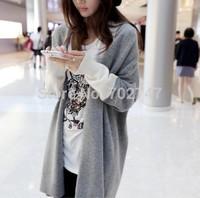Korean long sweater female cardigan Korean Fan loose bat sleeve coat big yards women hit color stitching sweaters