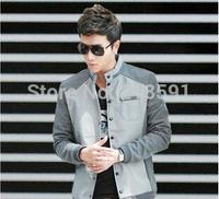 Free shipping 2014 Hot fashion cultivate one's morality splicing baseball jacket 100% cotton jacket gray , black , navy