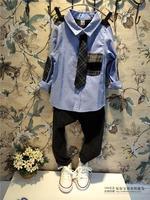 Free Shipping Wholesale (5 Size/Lot) New 2014 Childrens Kids Boys Autumn Fashion Leisure Korean Denim Color Shirt
