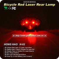 10pcs/lot Bike Bicycle Laser Tail Light Water Resistant 5 Modes Mountain Bike Safety Back Rear Led Light (5LED+2 Laser Lines)